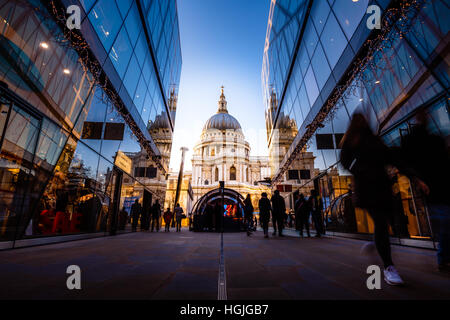 View of St. Paul's Cathedral from One New Change Mall with Shoppers, London, United Kingdom - Stock Photo