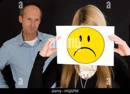 Father with sad teenager - Stock Photo