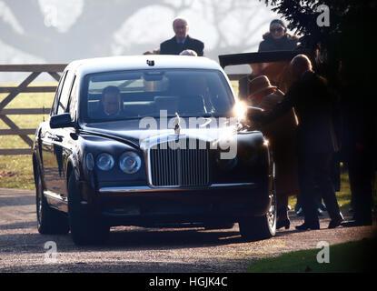 Sandringham, Norfolk, UK. 22nd January, 2017. HM Queen Elizabeth II attending Church at Sandringham . . Sandringham, - Stock Photo