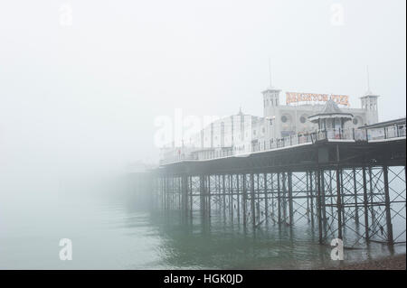 Brighton, East Sussex, UK. 23rd January 2017. UK Weather. Freezing fog and extremely poor visibility persists throughout - Stock Photo