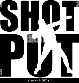 Shot put word with cutout - Stock Photo
