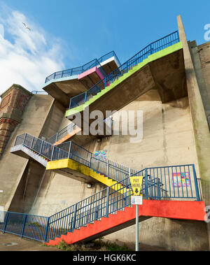 Colourful stairs East Cliff  Ramsgate. - Stock Photo