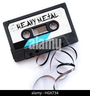 heavy metal musical genres audio tape label - Stock Photo