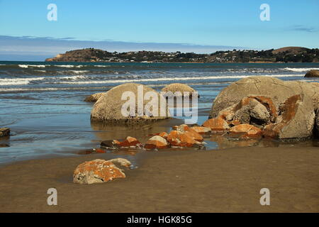 Moeraki boulders, New Zealand - Stock Photo