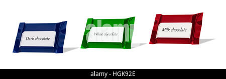 Chocolate wraped in colorful foil isolated at white background. - Stock Photo