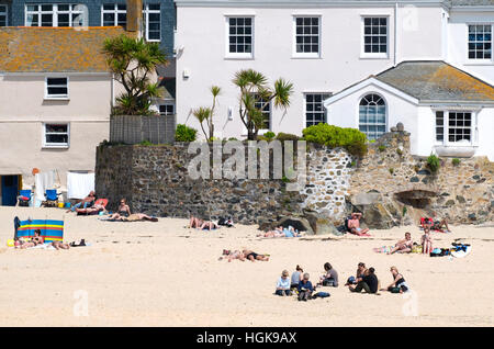 The harbour beach at St.Ives in Cornwall, England, UK - Stock Photo