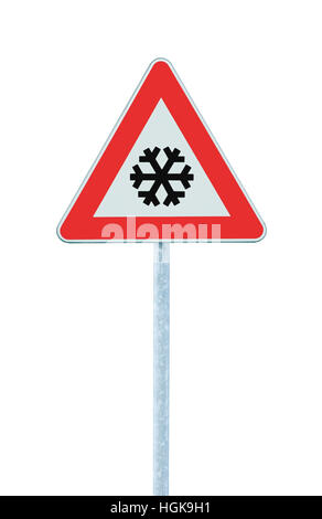 Caution, snow or ice road sign, isolated, slippery icy risky winter traffic ahead, snowfall risk warning signpost, - Stock Photo