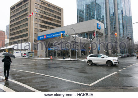 Vancouver, BC, Canada - December 9, 2016 - Bank of Montreal building along Homer Street.  Photo: © Rod Mountain - Stock Photo