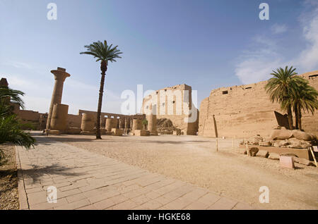 Inner view of Karnak Temple complex, Comprises a vast mix of decayed temples, chapels, pylons and other buildings, - Stock Photo