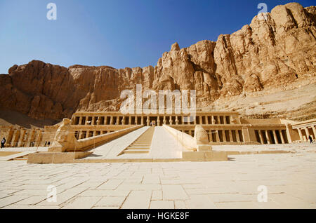 The Mortuary Temple of Hatshepsut, Is an ancient funerary shrine, Dedicated to the sun god Amon,  Located on the - Stock Photo