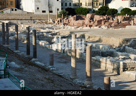 Old ruins near Roman amphitheater, dating originally from 2nd century AD, Alexandria, Egypt - Stock Photo