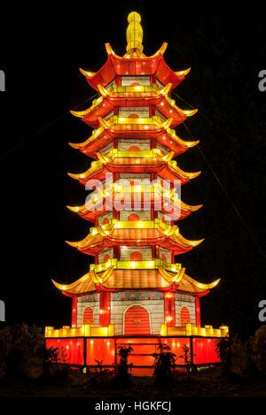 Magical Lantern Festival Yorkshire, Roundhay Park, Leeds, UK - Stock Photo