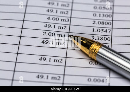 Pen On Rent Document Close-Up - Stock Photo
