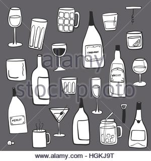 Alcoholic beverages doodle illustration drawing - Stock Photo