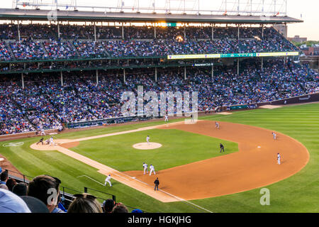 The crowd at a baseball game at Wrigley Field, Chicago, the home of the Chicago Cubs.  Cubs playing LA Dodgers. - Stock Photo