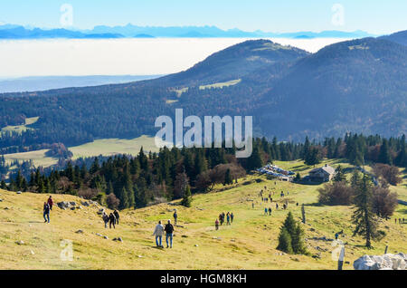 Hikers on the the Dent de Vaulion in the Swiss Jura - Stock Photo