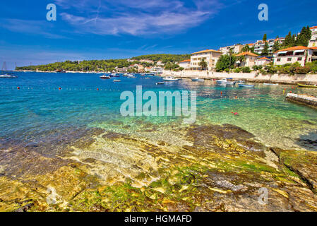 Turquoise stone beach on Hvar island, Dalmatia, Croatia - Stock Photo