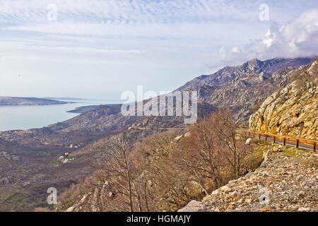 Velebit mountain cliffs and road, Coatia - Stock Photo