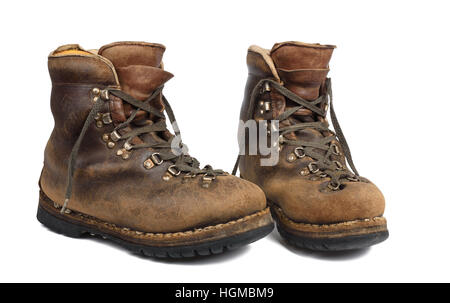 Old boots used isolated on white background - Stock Photo
