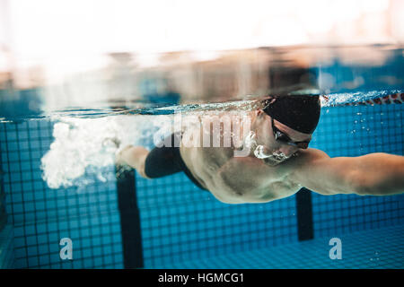 underwater shot of pro male swimmer in action inside swimming pool young sportsman training in - Inside Swimming Pool
