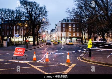 Brighton, East Sussex, UK. 11th January 2017. Fatal accident, Brighton. The bottom of St James's Street and large - Stock Photo