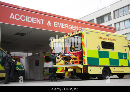 Accident and Emergency ambulances at Saint Thomas Hospital London as Health secretary Jeremy Hunt warns the A & - Stock Photo