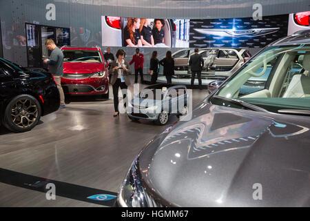 Detroit, Michigan USA - 10 January 2017 - Fiat Chrysler Automobiles' display at the North American International - Stock Photo