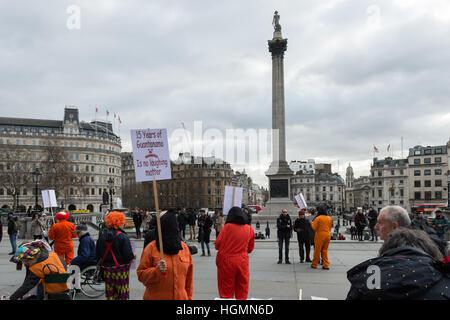 London, UK. 11th January 2017. The London Guantanamo Campaign holds the vigil in Trafalgar Square on the 15th anniversary - Stock Photo