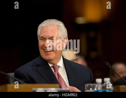 Washington DC, USA. 11th Jan, 2017. Ray Tillerson  testifies on Capitol Hill at his confirmation hearing to become - Stock Photo