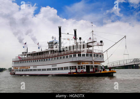 Paddle Steamer on the Ohio River in Louisville Kentucky - Stock Photo