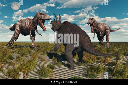 A Pair Of Carnivorous Tyrannosaurus Rex Dinosaurs , Attacking A Lone Herbivore Triceratops. - Stock Photo