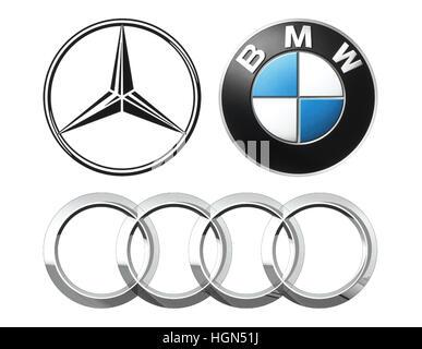 Kiev, Ukraine - September 12, 2016: Collection of popular German car logos printed on white paper: Mercedes, BMW - Stock Photo