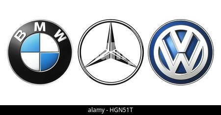 Kiev, Ukraine - September 21, 2016: Collection of popular German car logos printed on white paper: Mercedes, BMW - Stock Photo