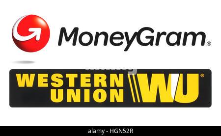 Kiev, Ukraine - October 12, 2016: Collection of popular money transfer system logos printed on white paper: Moneygram - Stock Photo