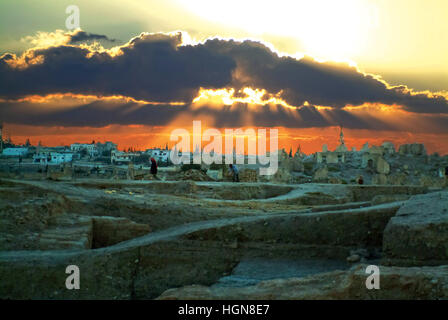 Syria Dawn to the Tell Mishrifeh to the North of the city Homs in the Cental Syria - Stock Photo