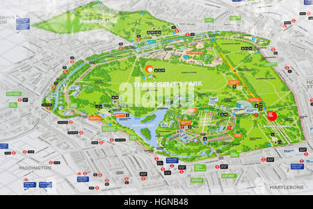 Regents Park London England Map of Park on Noticeboard Stock Photo