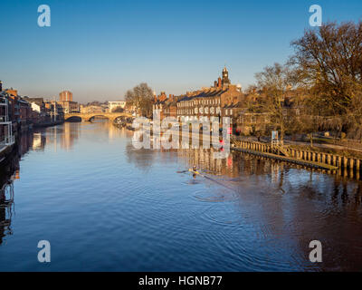 River Ouse and Ouse Bridge in the centre of York, North Yorkshire, UK. - Stock Photo