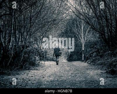 Single female walking along track between trees - Stock Photo