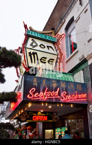 Outdoor neon sign for the famous Don Mee Chinese restaurant in Chinatown, Victoria, British Columbia, Canada.  Victoria - Stock Photo
