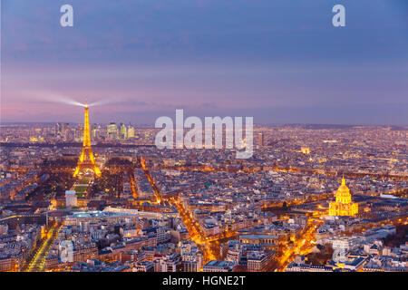 Aerial night view of Paris, France - Stock Photo