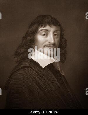 Steel engraving, c. 1860, René Descartes or Renatus Cartesius, 1596 - 1650, a French philosopher, mathematician - Stock Photo
