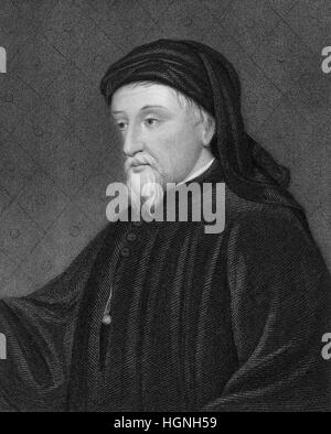 Geoffrey Chaucer, ca. 1343 - 1400, the greatest English poet of the Middle Ages - Stock Photo