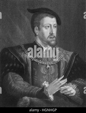Charles V, 1500 - 1558, Habsburg, King Charles I or Carlos I of Spain, Holy Roman-German King, Emperor of the Holy - Stock Photo