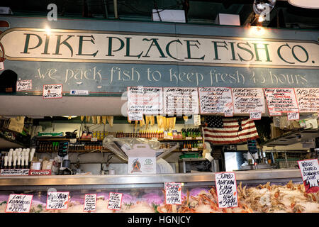 Pike's Place Market, in Seattle, Washington, is an open air market with a wide variety of vendors. - Stock Photo