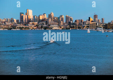 View of the Seattle skyline across Lake Union from Gasworks Park. - Stock Photo