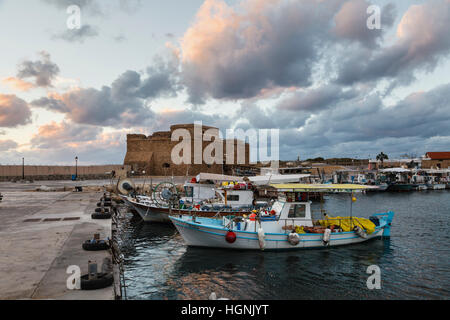Paphos Castle and the harbour, Cyprus - Stock Photo