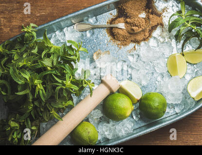 Ingredients for making mojito summer cocktail on ice in tray - Stock Photo