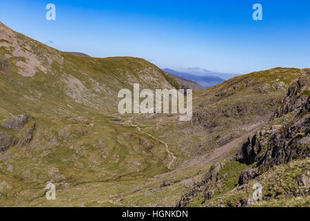 Corridor Route from flanks of Scafell Pike. Flanks of Great Gable and Green Gable in the distance. - Stock Photo