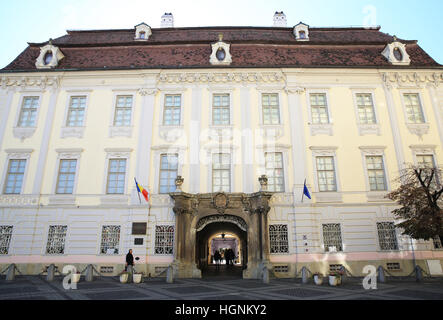 The beautiful old palace that is now the Brukenthal National Museum, on Piata Mare, in Sibiu, Transylvania, Romania, - Stock Photo