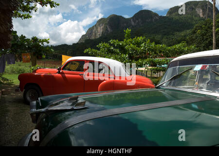 Vinales (Viñales), Cuba. Classic vintage 1950s American cars parked in the countryside - Stock Photo